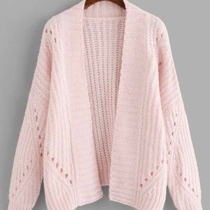 Pink heavy knit long cardigan